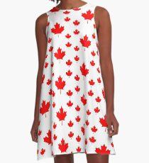 Canada Leggings - Canadian Maple Leaf Pattern Duvet A-Line Dress