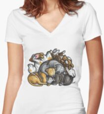 Sleeping pile of Staffordshire Bull Terriers Women's Fitted V-Neck T-Shirt