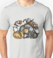 Sleeping pile of Staffordshire Bull Terriers T-Shirt