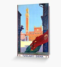 Italy Siena Vintage Travel Poster Restored Greeting Card