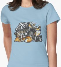 Sleeping pile of Shetland Sheepdogs Womens Fitted T-Shirt