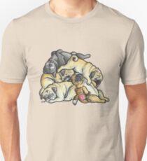 Camiseta unisex Dormir montón de Pugs