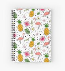 Flamingo and Pineapple Tropical doodles Spiral Notebook