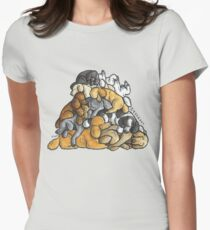 Sleeping pile of Poodle dogs Women's Fitted T-Shirt