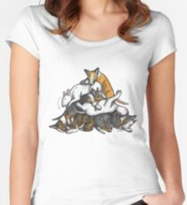 Sleeping Pile of Bull Terriers Women's Fitted Scoop T-Shirt