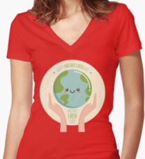 Mother Earth Day Environmental Friendly Save Mother Earth Women's Fitted V-Neck T-Shirt