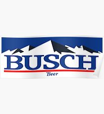 busch, buschlight, beer, drink, thin, mountain. Poster