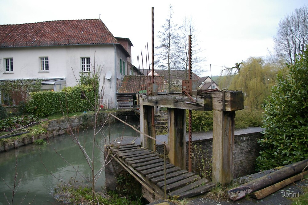 French water mill - pond & sluices by JohnT