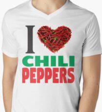 I LOVE CHILI PEPPERS Mens V-Neck T-Shirt