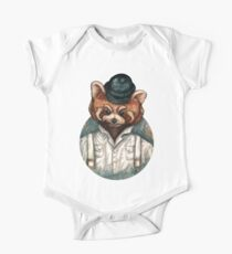 Cute Red Panda in Bowler hat One Piece - Short Sleeve