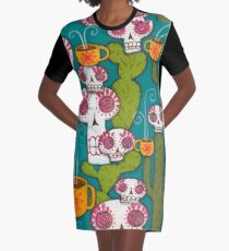 Skulls, Cacti and Atomic Coffee Graphic T-Shirt Dress