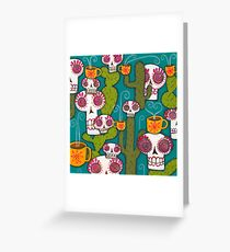 Skulls, Cacti and Atomic Coffee Greeting Card