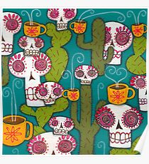 Skulls, Cacti and Atomic Coffee Poster