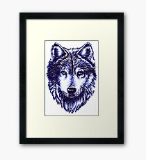 Timber Wolf - Blue Framed Print