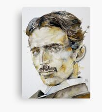 NIKOLA TESLA - watercolor portrait.6 Canvas Print
