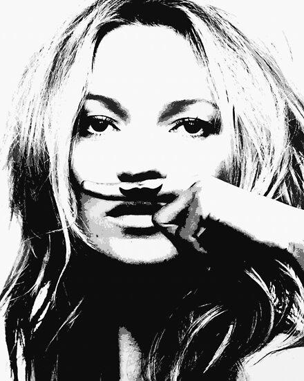 Kate Moss illustration, Woman, Girl, Lips print, Fashion art, Fashion print, Scandinavian art, Modern art, Wall art, Print, Minimalistic, Modern by Julia Emelianteva