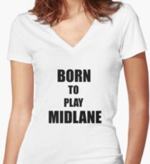 Born to play Midlane Women's Fitted V-Neck T-Shirt