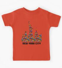 Statue of Liberty New York City Skyline Made With Lego Like Blocks Kids Tee