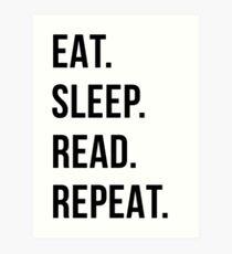 Lámina artística comer dormir leer repetir