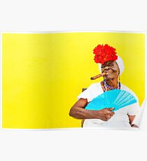 Cuban Woman In Havana With Cigar Poster