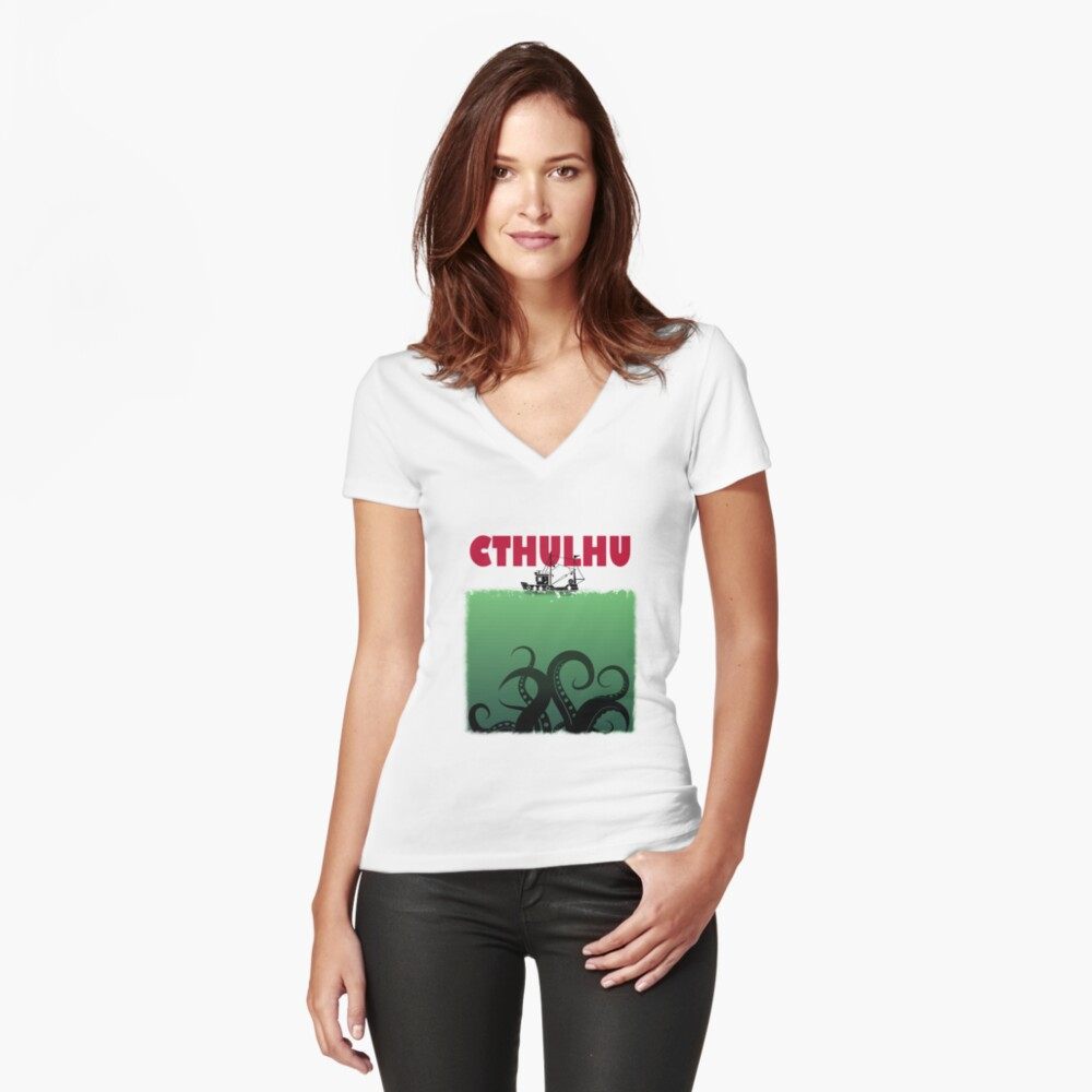 Cthulhu Jaws Fitted V-Neck T-Shirt
