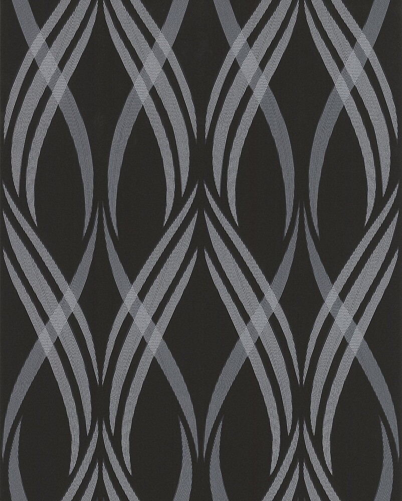 Black and Grey Abstract Ribbon Curls Pattern by HavenDesign