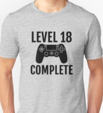76649c284 Level 18 Complete 18th Birthday Gift Video Gamer Slim Fit T-Shirt