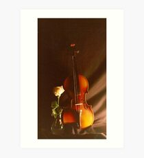 Violin & Rose Art Print
