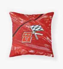 Corvette Flags on Red Throw Pillow