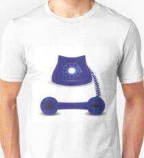 colorful illustration  with old blue phone on white background T-Shirt