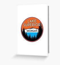 LAKE SUPERIOR MICHIGAN BOATING JET SKI BOAT CAMPING HIKING Greeting Card