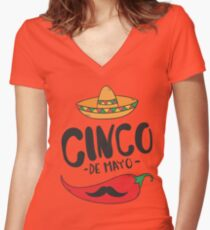 Big Red Chili Pepper Funny Mustache Sumbrero Festival Mexican Party Women's Fitted V-Neck T-Shirt