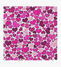Sparkling hearts,pink Photographic Print