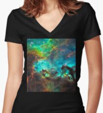 Green Nebula Women's Fitted V-Neck T-Shirt