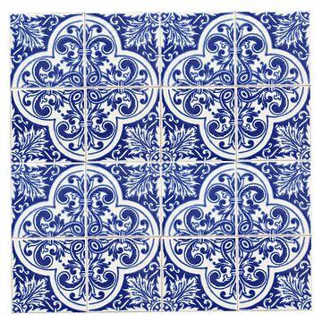 Navy Blue Portuguese Tiles Azulejos by samby