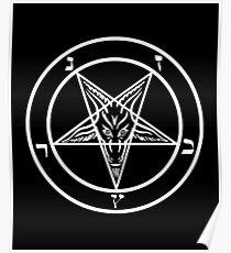 Inverted Pentagram with Sigil of Baphomet Goat Head Poster