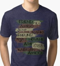 Friends From Other Ends - Camo-Blackout Theme Tri-blend T-Shirt
