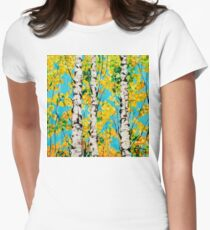 Aspen Gold Autumn Fall Colors Trees Forest Grove Rocky Mountains Quaking Quakes Beautiful Nature Landscape Yellow Orange Blue  Womens Fitted T-Shirt