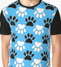 Distressed Black And White Dog Paw On Blue Background Graphic T-Shirt