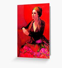 The Gypsy Skirt, oil painting on stretched canvas Greeting Card