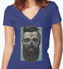 hipster-skull Women's Fitted V-Neck T-Shirt