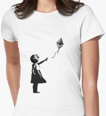 Ethereum Balloon Girl - Banksy Loves Bitcoin Series (the ORIGINAL design) Women's Fitted T-Shirt