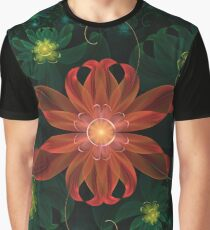 Beautiful Red Passion Flower in a Fractal Jungle Graphic T-Shirt