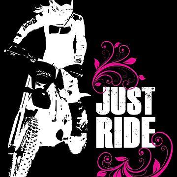 Just Ride- Motorcycle Rider Girl - White Print by Janja