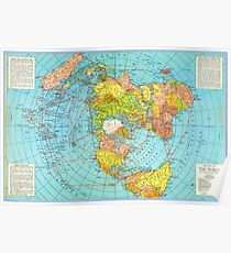 FLAT EARTH Air Map of the World - Polar Azimuthal Equidistant Projection Poster