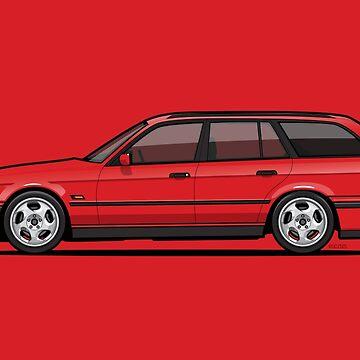 Brilliant Red Bavarian E34Fuenfer Wagon Kombi by monkeycom