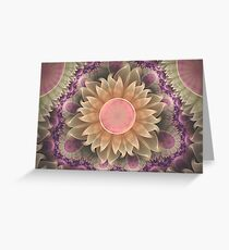 Pastel Pearl Lotus Garden of Fractal Dahlia Flowers Greeting Card