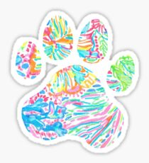 Vibrant Floral Paw Print Sticker