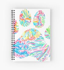 Vibrant Floral Paw Print Spiral Notebook