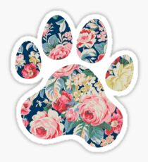 Navy Floral Paw Print Sticker